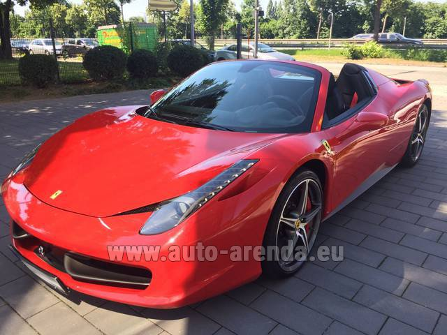 Hire and delivery to Hamburg airport the car: Ferrari 458 Italia Spider Cabrio Red