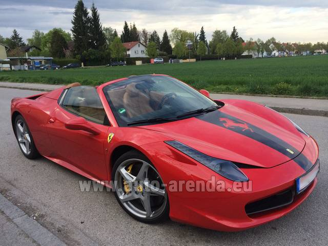 Hire and delivery to Hamburg airport the car: Ferrari 458 Italia Spider Cabrio
