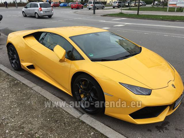 Rental Lamborghini Huracan LP 610-4 Yellow in Karlsruhe