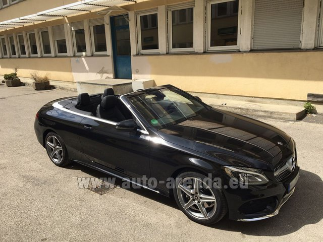 Hire and delivery to Memmingen airport the car Mercedes-Benz C 180 Cabrio AMG Equipment Black